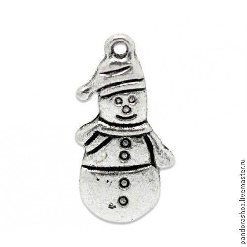Снеговичок 25х13 мм, подвеска металлическая античное серебро, серия Новый Год - 30.00