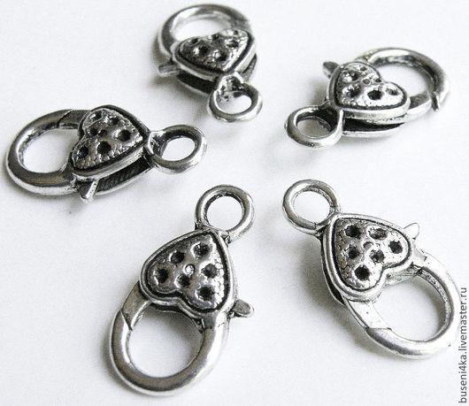 Для украшений ручной работы. Ярмарка Мастеров - ручная работа. Купить Замок карабин Сердце с точками, античное серебро (1шт). Handmade.