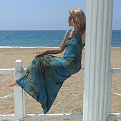 Одежда handmade. Livemaster - original item М_007 Dress long, blue-green and mustard,. Handmade.