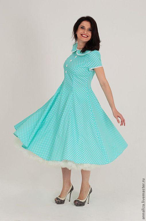 """Платья ручной работы. Ярмарка Мастеров - ручная работа. Купить Ретро платье в горошек """"Питер Пэн"""" мятное. Handmade."""