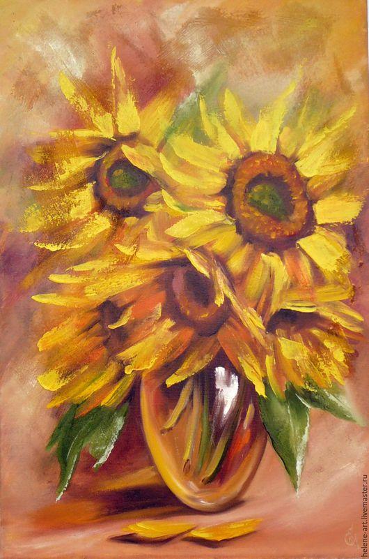 """Картины цветов ручной работы. Ярмарка Мастеров - ручная работа. Купить Картина маслом """" Охапка лета"""",40х60 (цветы, подсолнухи, солнце). Handmade."""
