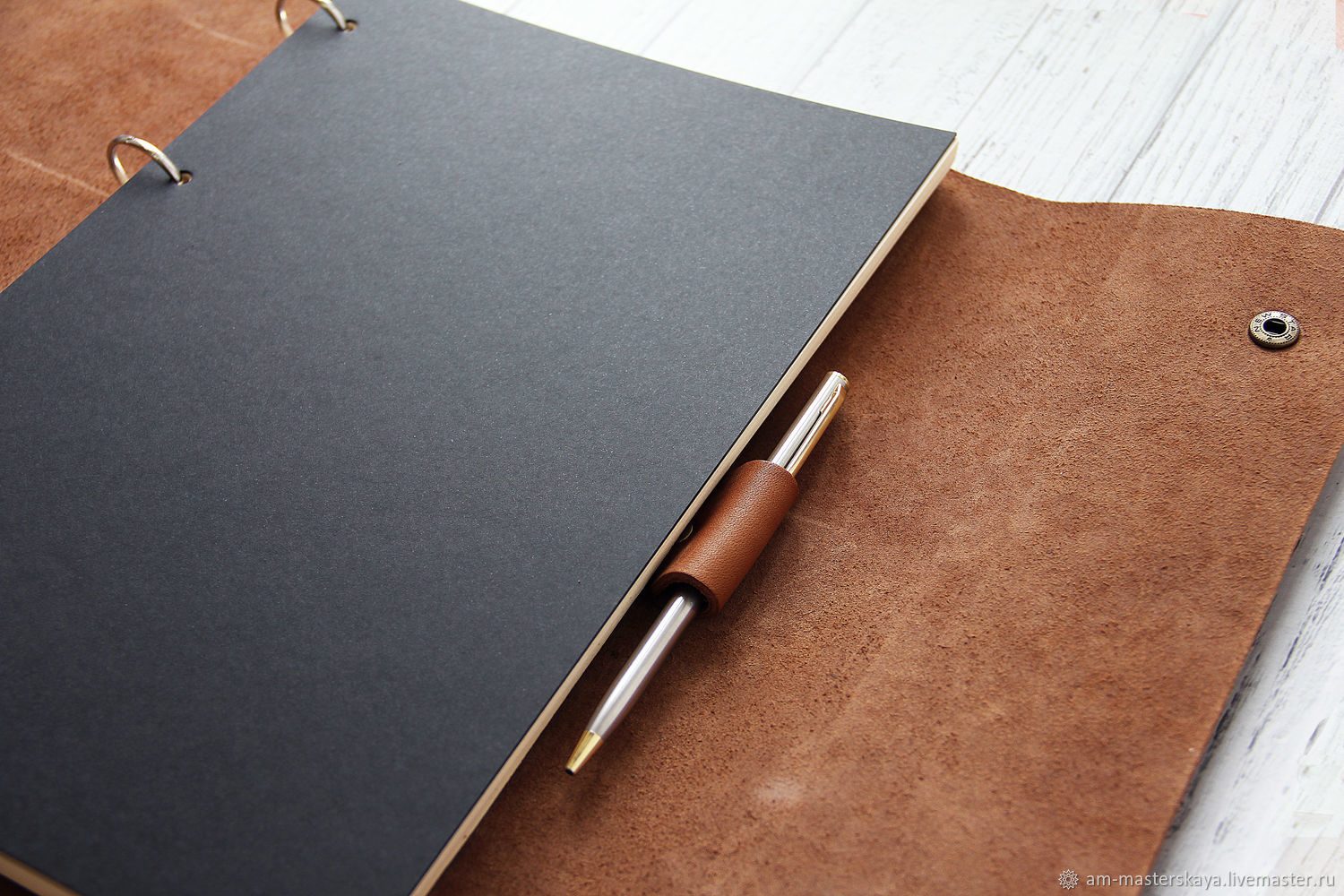 A4 notebook with light brown leather rings, Diaries, St. Petersburg,  Фото №1