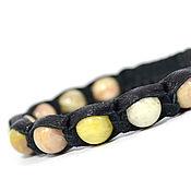 Украшения handmade. Livemaster - original item A leather bracelet with a sun stone. Handmade.