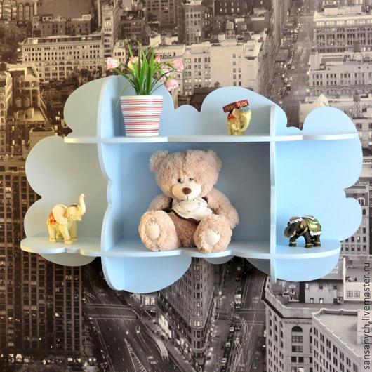 """Мебель ручной работы. Ярмарка Мастеров - ручная работа. Купить полка в детскую """"облако"""". Handmade. Голубой, мебель для детской, для дома"""