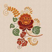 Материалы для творчества handmade. Livemaster - original item Flowers kokhloma embroidery design satin stitch hoop size 14 x 20 cm p. Handmade.