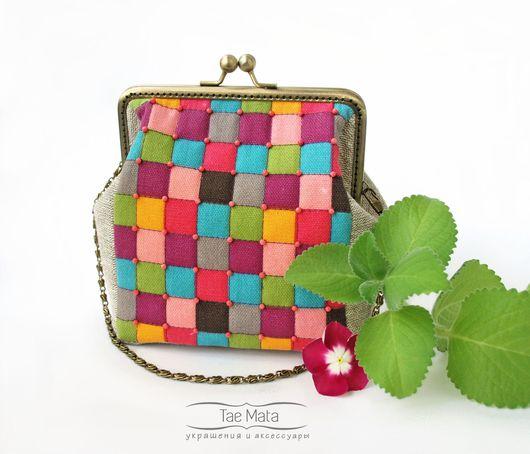 жизнеутверждающая - сумка из хлопка и льна с фермуаром на цепочке. Сумка в клетку, сумка разноцветная. TaeMata or TaeMataHM