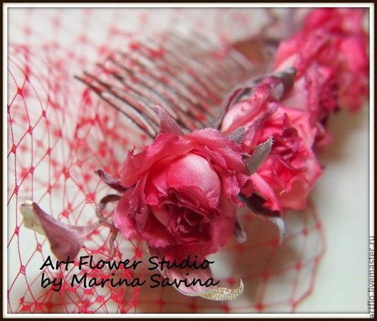 """Цветы ручной работы. Ярмарка Мастеров - ручная работа. Купить Мини-розочки """"Vintage""""-гребень,брошь, украшение,ободок,вуалетка. Handmade."""