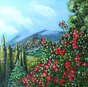 Картины и панно ручной работы. Ярмарка Мастеров - ручная работа Картина маслом пейзаж летний В Никитском саду, зеленый. Handmade.