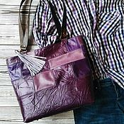 Сумки и аксессуары handmade. Livemaster - original item Boho purple genuine leather shopping bag. Handmade.