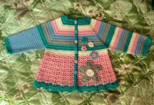 Одежда для девочек, ручной работы. Ярмарка Мастеров - ручная работа. Купить вязанная кофточка для девочки. Handmade. Разноцветный, в полоску