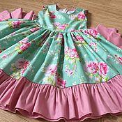 """Работы для детей, handmade. Livemaster - original item Платье из американского хлопка""""Розовый букет"""". Handmade."""