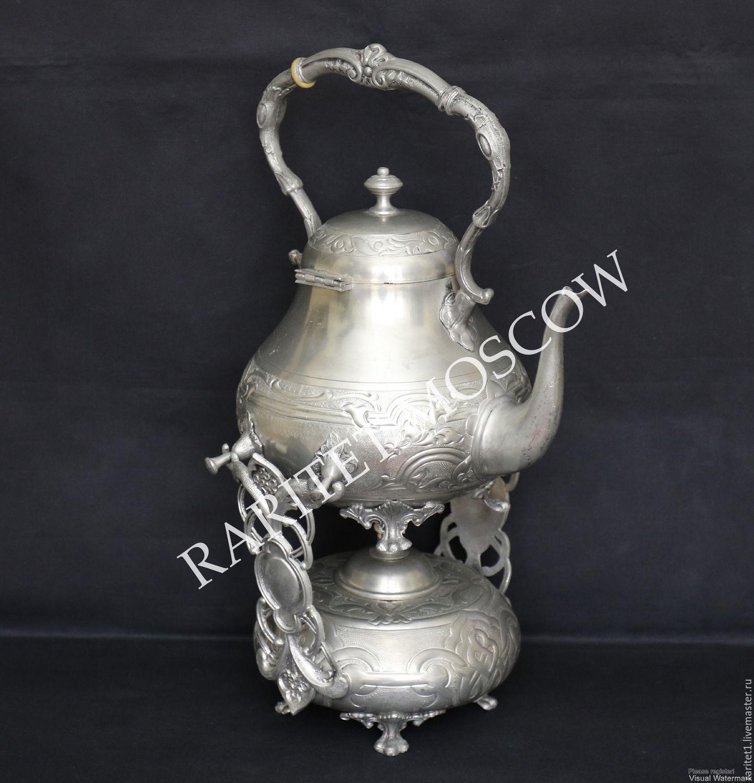 Винтаж: Бульотка чайник подставка горелка олово 1, Чайники винтажные, Москва,  Фото №1