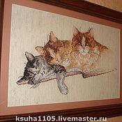 """Картины и панно ручной работы. Ярмарка Мастеров - ручная работа картина """"три кота"""". Handmade."""