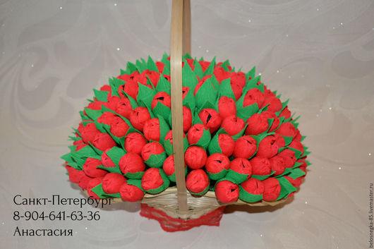 Букеты ручной работы. Ярмарка Мастеров - ручная работа. Купить Корзина с тюльпанами (Большая). Handmade. Подарок, букет в подарок