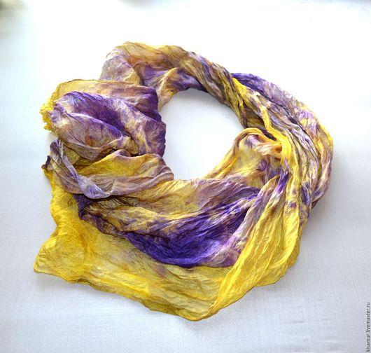 Шарфы и шарфики ручной работы. Ярмарка Мастеров - ручная работа. Купить шелковый женский шарф фиолетово жёлтый натуральный шелк. Handmade.