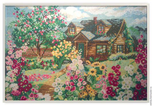 """Пейзаж ручной работы. Ярмарка Мастеров - ручная работа. Купить Вышитая картина """"Дом с садом"""". Handmade. Разноцветный, Вышивка крестом"""