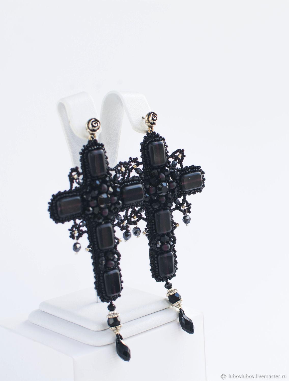 Серьги ручной работы. Ярмарка Мастеров - ручная работа. Купить Серьги-кресты 'Сумерки'. Handmade. Черный, готический стиль