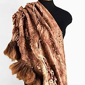 """Аксессуары ручной работы. Ярмарка Мастеров - ручная работа Бохо шаль """"Светло-коричневая"""" стиль бохо шик. Handmade."""