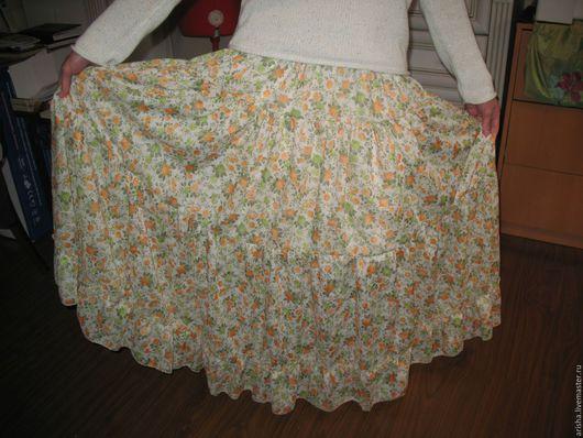 Юбки ручной работы. Ярмарка Мастеров - ручная работа. Купить Женская юбка  из хлопка Цветы. Handmade. Одежда, юбка длинная