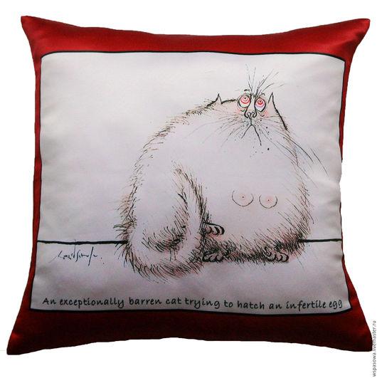 Текстиль, ковры ручной работы. Ярмарка Мастеров - ручная работа. Купить Прикольная декоративная подушка Кот-5. Handmade.