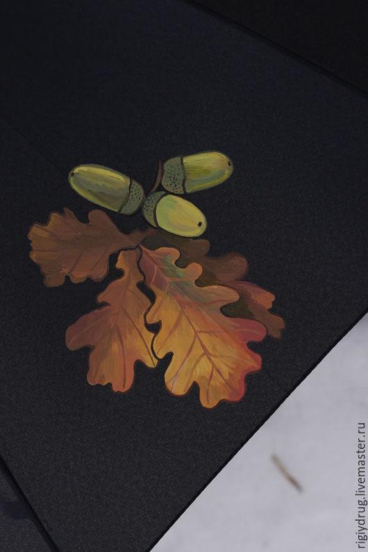 Зонты ручной работы. Ярмарка Мастеров - ручная работа. Купить Зонт Плоды и листья. Handmade. Черный, Рябина, осенние ягоды