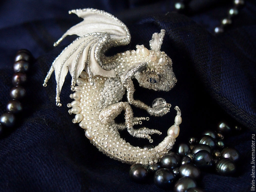 """Brooch dragon """"Sylvie"""" Brooch beads. Silver dragon, Brooches, Moscow,  Фото №1"""
