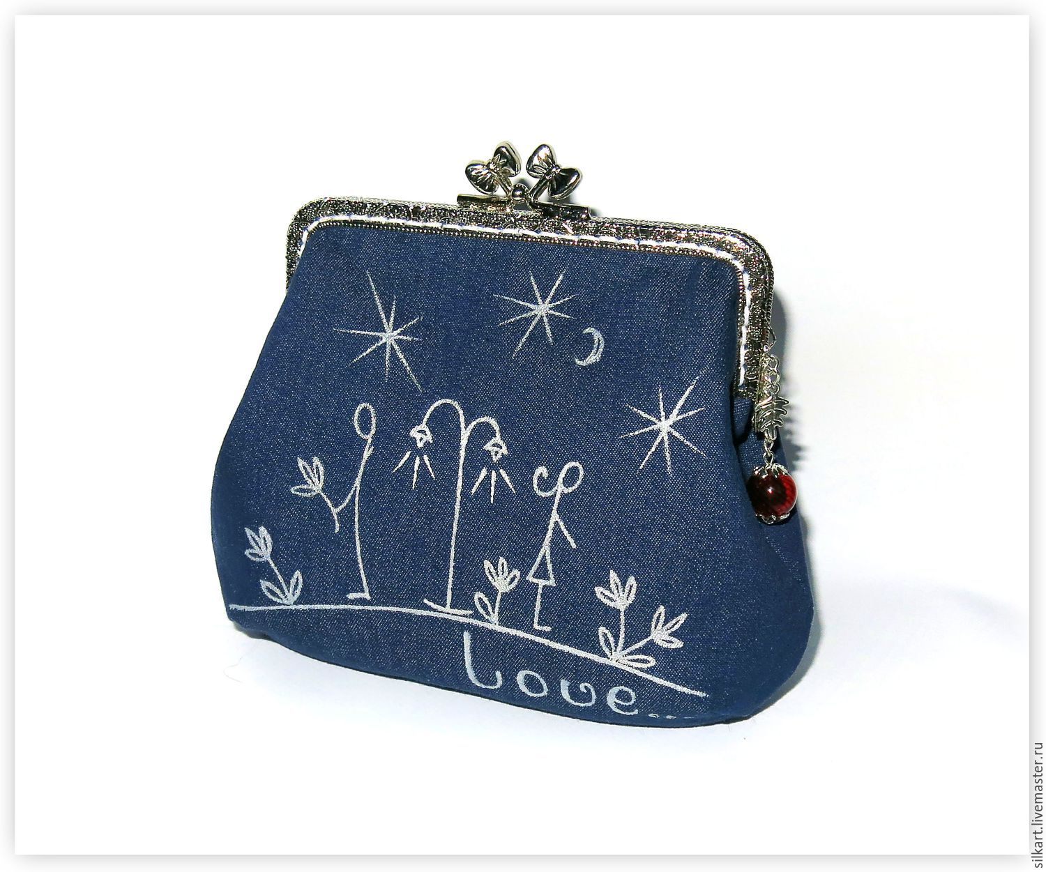 cosmetic bag made of denim with clasp a date under the moon, Beauticians, Zheleznodorozhny,  Фото №1