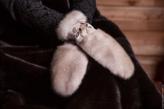 """Варежки, митенки, перчатки ручной работы. Ярмарка Мастеров - ручная работа. Купить Варежки с Норкой """"Крем-брюле"""". Handmade. Бежевый"""