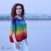 Одежда ручной работы. Ярмарка Мастеров - ручная работа Радуга Безрукавый пуловер оверсайз из кауни Большие размеры. Handmade.