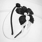handmade. Livemaster - original item Bezel leather Orchid. black - and- white classics. Decoration for hair. Handmade.