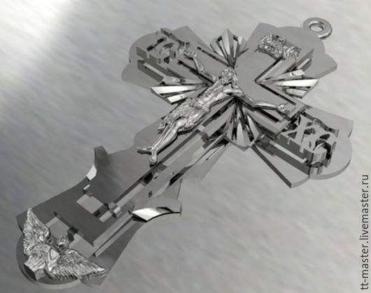 Кулоны, подвески ручной работы. Ярмарка Мастеров - ручная работа. Купить Крест нательный. Handmade. Серый, серебро 925 пробы