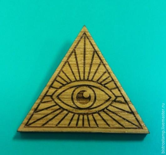 """Броши ручной работы. Ярмарка Мастеров - ручная работа. Купить Брошь """"Всевидящее око"""". Handmade. Брошь деревянная, Глаза, дуб"""