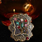 Украшения handmade. Livemaster - original item Brooch vintage antique bronze Floral still life. Handmade.