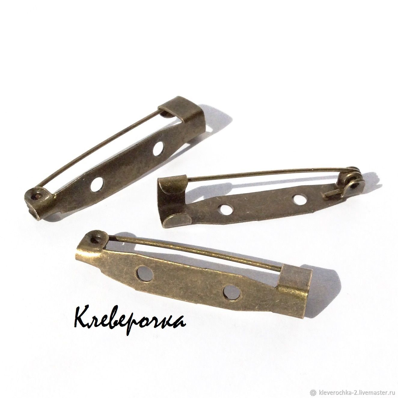 a0c1ed602a2d 10шт/Основа 30 мм для броши пришивная цв.бронза ант.булавка/ арт.ос –  купить в ...