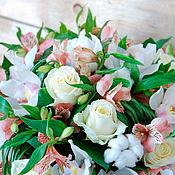 Букеты ручной работы. Ярмарка Мастеров - ручная работа Букет из орхидей с хлопком Нежность. Handmade.