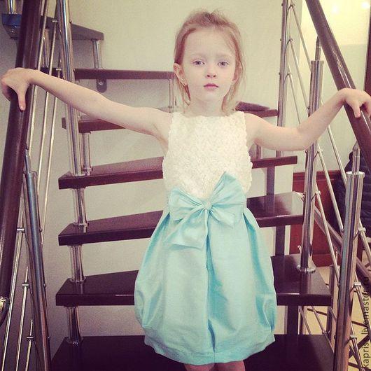 """Одежда для девочек, ручной работы. Ярмарка Мастеров - ручная работа. Купить Платье для девочки""""Тюльпан"""". Handmade. Бирюзовый, однотонный, платье для девочки"""