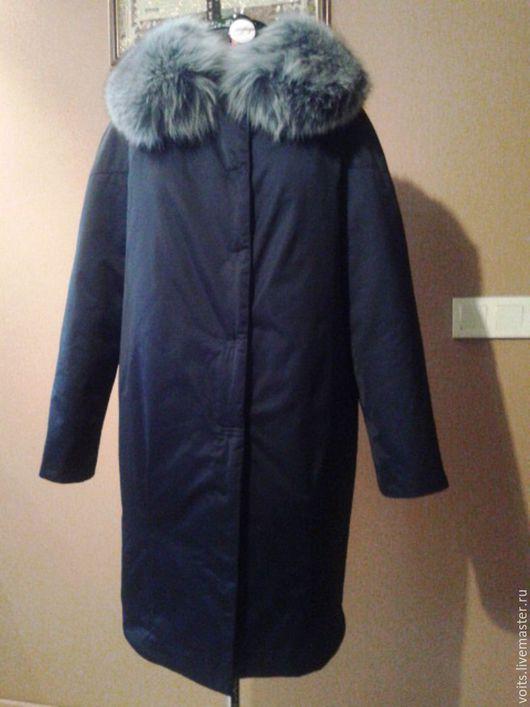 """Верхняя одежда ручной работы. Ярмарка Мастеров - ручная работа. Купить Пальто зимнее """"Alba"""" из плащёвки. Handmade. Тёмно-синий"""