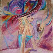Картины и панно ручной работы. Ярмарка Мастеров - ручная работа Девушка в розовом. Handmade.