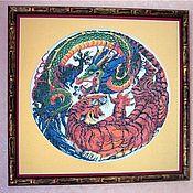Картины и панно ручной работы. Ярмарка Мастеров - ручная работа Дракон борующийся с тигром. Handmade.