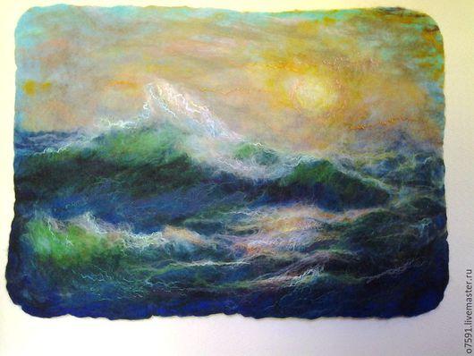 """Пейзаж ручной работы. Ярмарка Мастеров - ручная работа. Купить Картина шерстью.Шерстяная акварель."""" Море волнуется"""". Handmade."""