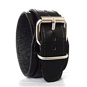 Украшения handmade. Livemaster - original item Dave Gahan leather bracelet. Black leather cuff.. Handmade.