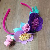 Аксессуары ручной работы. Ярмарка Мастеров - ручная работа Ободок с цветочками из фетра. Handmade.