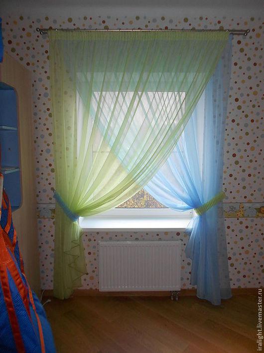 Детская ручной работы. Ярмарка Мастеров - ручная работа. Купить Шторы в детскую Green & Blue. Handmade. Тюль, голубой