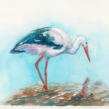 """Картины и панно ручной работы. Ярмарка Мастеров - ручная работа """"Дом на крыше"""" картина акварелью (птицы, голубой). Handmade."""