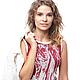 Платье женское `Итальянские будни`. Авторская модель 2015 года. Lorraine Woolheart.  Состав: Хлопок Размер: S; M Цвет: Бордово-белый