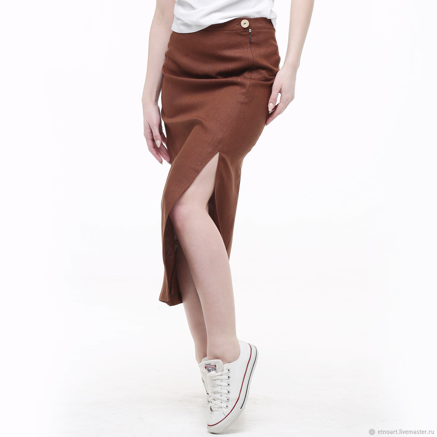 Brown linen skirt with a split, Skirts, Tomsk,  Фото №1