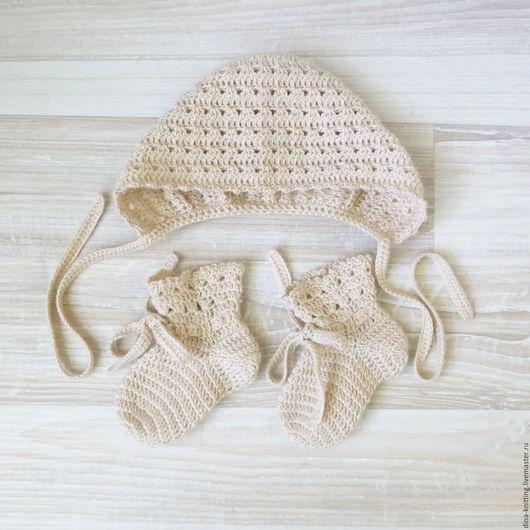вязаные носочки и шапочка, шапочка чепчик для девочки, носочки для новорожденных, вязаный комплект для новорожденных, шапка вязаная купить, детские носочки, носочки детские вязаные, шапка детская
