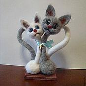 Куклы и игрушки ручной работы. Ярмарка Мастеров - ручная работа войлочная валяная игрушка - Влюбленные котики. Handmade.