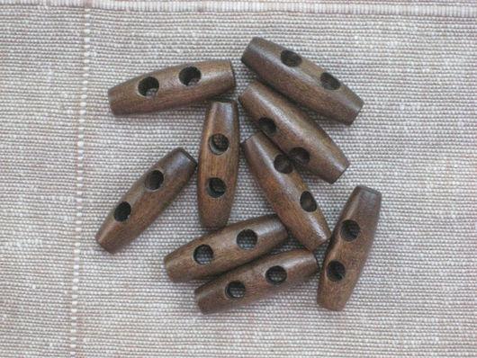 Шитье ручной работы. Ярмарка Мастеров - ручная работа. Купить Пуговица деревянная 30х10мм. Handmade. Коричневый, пуговица деревянная