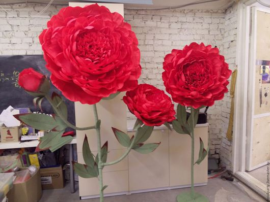Свадебные цветы ручной работы. Ярмарка Мастеров - ручная работа. Купить Поин из бумаги. Handmade. Фуксия, большие цветы, пион